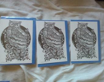 Handmade Illustrated Owl Greetings Cards