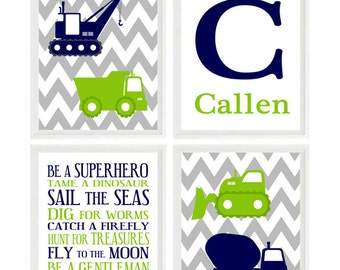 Construction Nursery, Baby Boy Wall Art, Personalized Nursery Art, Lime Green Navy Blue Gray, Chevron Print, Boy Room Decor, Toddler Bedroom