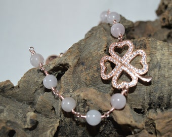 Rose Quartz bracelet with rose gold finding and magnetic clasp