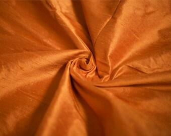 Bright Orange Silk Dupioni Fabric, Tangerine Silk Fabric by the Half Yard
