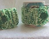 Mug Cozies  Neon Green Mug Wrap  Re-Usable Mug Sleeve