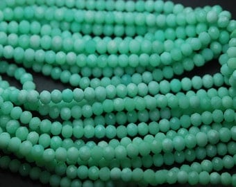 13 Inch Strand,Super Rare Finest Quality,Natural CHRYSOPRASE Faceted Rondells Size 5mm,
