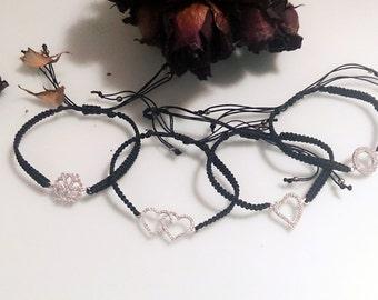 925silver, love bracelet, gift woman, trendy bracelet, silver heart, macrame bracelet, circle bracelet, karma bracelet, heart bracelet,