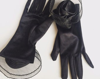 1970s Black Evening Gloves with Rose,