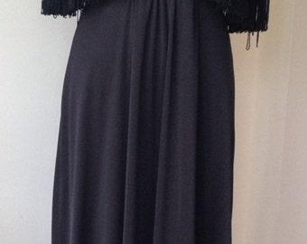 Vintage 1970's black lace fringed cape maxi dress/gothic/ethereal/bohemian/evening