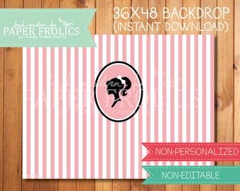 """Vintage Barbie Printable Backdrop 48"""" x 36"""", Digital, DIY, Instant Download"""