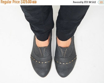 LAST SIZES SALE Dark gray handmade  leather flat shoes by Tamar Shalem / Molly Dark stone shoes