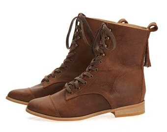 Janis Brown Lace up Leather Flat Handmade Boots