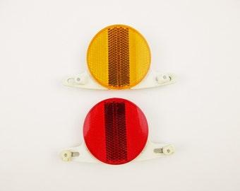 Pair - 'Cat Eye' Bicycle Reflectors - Red/Yellow Reflectors - Made in Japan - Model RR-250 - One Pair of Cat Eyes - Vintage Bicycle Fun