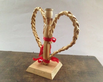 Swedish vintage straw candle holder Christmas candle holder Straw wood Christmas home decor