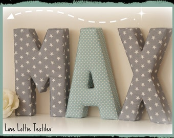 Fabric Letter, wall letter, Nursery Decor, Kids Room, Initial Decorations, Initials, Fabric Initial, Nursery, Nursery Decoration, stars