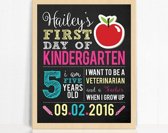 First Day of School Printable Sign for Girl - Printable First Day of School Chalkboard Photo Prop - Personalized First Day of School Sign
