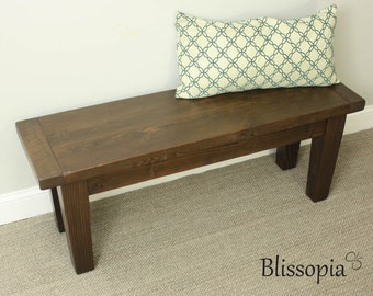 Reclaimed Wood Bench, Tapered Leg Bench, Farmhouse Bench