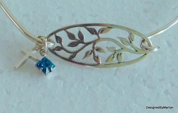 Sterling silver family tree bracelet, charm bracelet, bangle bracelet, mothers gift, wedding bracelet