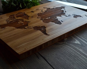 "Personalized Cutting Board Engraved Bamboo ""Wander"" World Map, for Wedding, Anniversary, Christmas gift"
