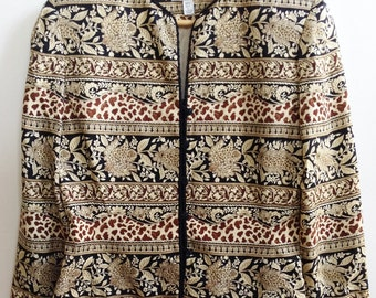 Vintage 1980s Silk Jacket / Mix print / Adriana Papell / Size 6