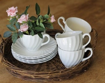 White Ironstone Tea Cups and Saucers