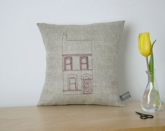 Single Belfast Terraced House. Embroidered Linen Cushion
