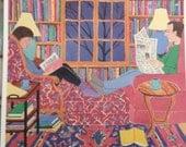 """Nikki Schumann """"Adults Reading"""" 1996 library art poster 11 x 14"""