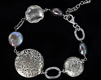 Chunky Hill Tribe Silver & Pearl Bracelet