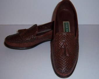Vintage Cole Haan Brown Leather Woven Braided Kiltie Tassel Loafers 8 Narrow AA