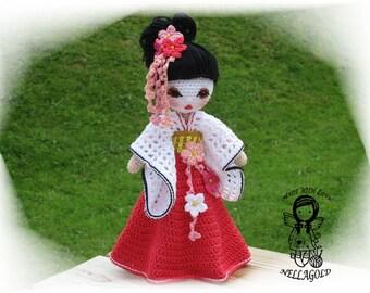 Crochet PATTERN, Crochet doll, Amigurumi, Toy, Collectors doll, Geisha, DIY Pattern 123