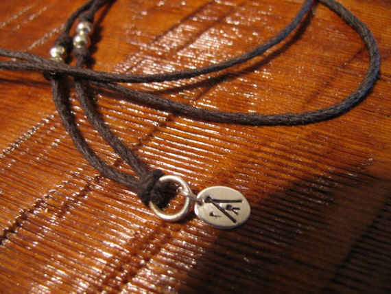 Sterling Silver and Natural Hemp Pendant Necklace Tee Pee TeePee Indian Handmade- Toniraecreations