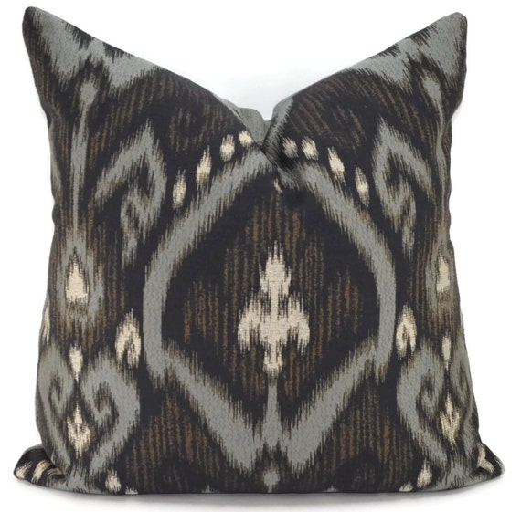 Black Ikat Throw Pillow Cover Black & Gray Ikat Pillow Cover