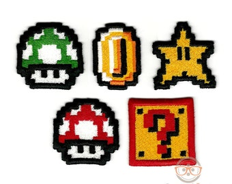 "Set of 5 ""Mini"" Super Mario Bros Inspired - Iron-on Patches"