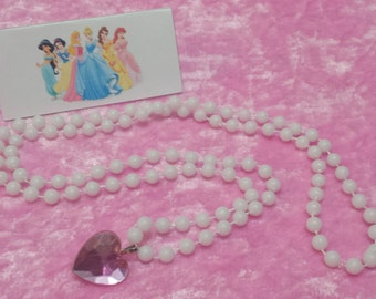 PARTY PACK Disney Princess Pearl Heart Jewel Necklace Party Favor (Cinderella, Sleeping Beauty, Belle, Snow White)