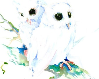 Baby Northern Owls 12 X 12 in original watercolor paintng nursery art, children room art cute owl