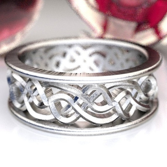 Celtic Wedding Ring With Open Cut-Through Knotwork Design in Sterling Silver, Made in Your Size CR-72