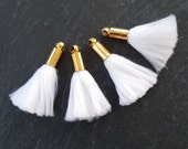 Mini White Soft Thread Tassels Earring Bracelet Necklace Tassel Jewelry Fringe Turkish Findings - Shiny Gold Plated Cap - 25mm - 4pc