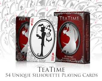 Playing Cards | Silhouette Playing Cards |Tea Time Playing Cards | Cards | Deck of Cards |  Tim Burton Cards | Victorian Cards | Card Deck