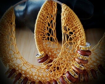 Crochet Beaded Hoop Earrings w/ Crystal and Wooden Beads(Large) 85mm 3.51 inches