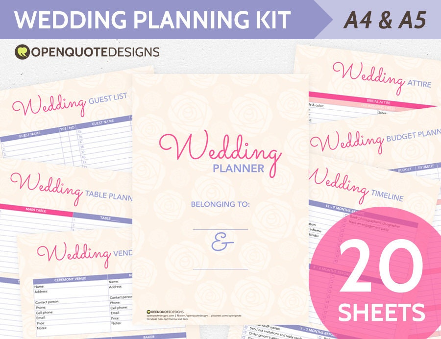 Printable Wedding Planner Organizer Printable Wedding