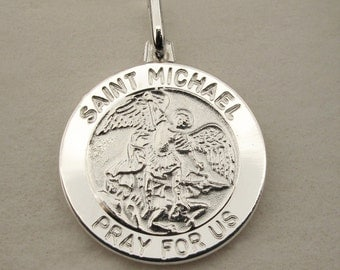 Personalised Silver St Michael Patron Saint of Police Officers & Military Personnel Pendant Medal + Chain Option - Gift Religious Jewellery