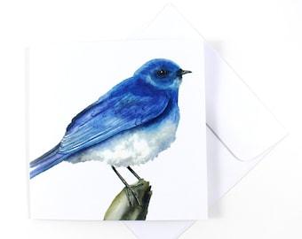 Mountain Bluebird Watercolor Blank Card