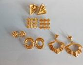 Vintage Goldtone Pierced Earring Lot