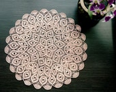 Round Peach Crochet Doily With Fan Edging