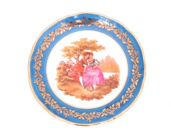 Limoges Pin Dish, Limoges Porcelain Dish, Limoges China, Limoges France, Limoges Miniature, Limoges Dish, Blue Gold Limoges, Miniature Plate