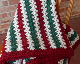 Crochet sofa throw, extra thick handmade afghan, dark green, red & white stripes, sofa blanket, Holiday decor, Ready to ship