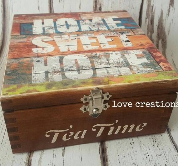Home sweet home , Tea Time Tea Box wooden tea caddy, vintage kitchen decor, wooden storage retro, storage box, compartments box,any wood dye