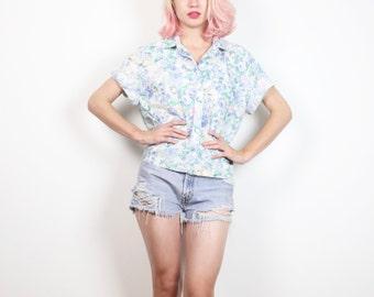 Vintage Pastel Floral Print Blouse 1980s Liberty Floral Boxy Crop Top Collared Shirt 80s Preppy Button Down Boyfriend Shirt M Medium L Large