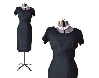 1950s Dress, 50s Dress Linen Dress 1950s Black Dress,50s Black Dress Small Dress Vintage 1950s Dress Vintage 50s Dress Womens Vintage Dress