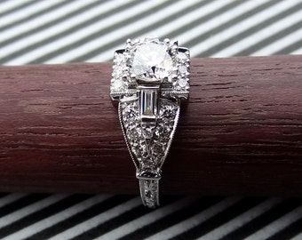 Art Deco Style Diamond 1.40 cts Total Weight  Engagement Ring 18k White Gold Vintage / Antique Style