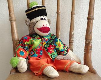 Vintage Sock Monkey Wearing Hat, Coat, and Pants w/ Pompom on Wrist