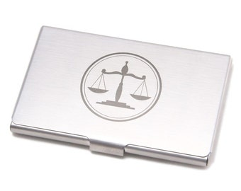 Metal Business Card Holder with Lawyers Scale Symbol