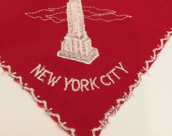 New York City Hankie, Empire State Building, Red and White