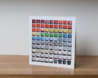 Deux Chevaux - a colourful greetings card for Citroen 2CV fans